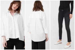 Tenue de fête femme enceinte : chemise et pantalon Mango
