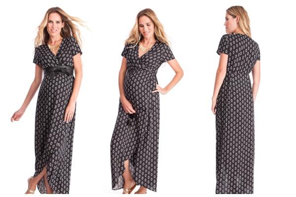 Tenue de fête femme enceinte : robe longue portefeuille Seraphine