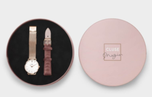 Coffret Cluse pour Noël avec une montre et un bracelet de montre